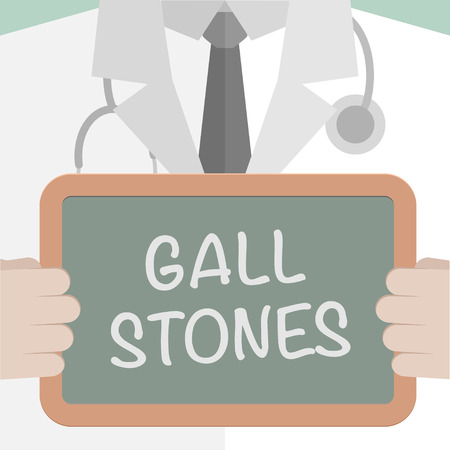 gall: minimalistic illustration of a doctor holding a blackboard with Gall Stones text, eps10 vector