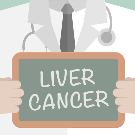 medicare: minimalistic illustration of a doctor holding a blackboard with Liver Cancer text,  vector