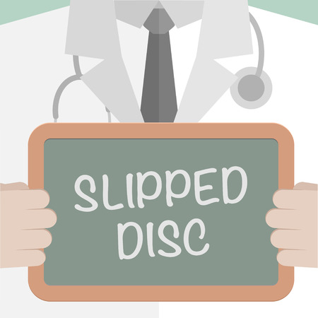 slipped: minimalistic illustration of a doctor holding a blackboard with Slipped text,  vector