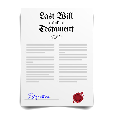 signing papers: detailed illustration of a Testament Letter,  vector