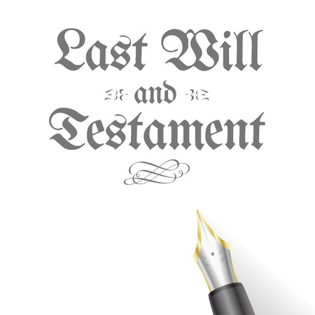 testament: illustration of a Testament Letter with fountain pen