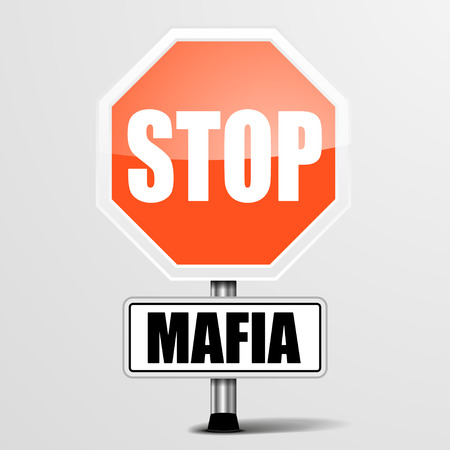 organized crime: detailed illustration of a red stop Mafia sign,  vector