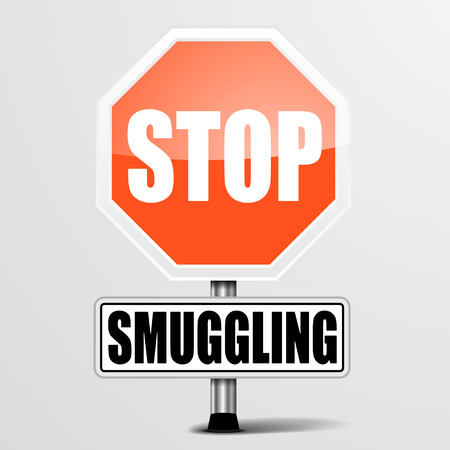 smuggling: detailed illustration of a red stop Smuggling sign, eps10 vector Illustration