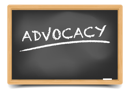advocacy: detailed illustration of a blackboard with advocacy text, eps10 vector, gradient mesh included Illustration