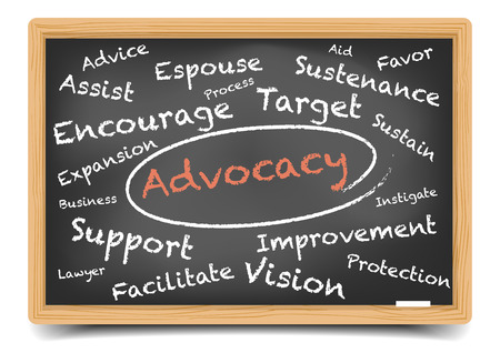 advocate: detailed illustration of a Advocacy wordcloud on a blackboard,  vector, gradient mesh included