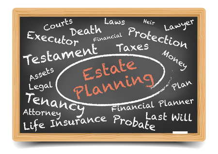 estate planning: detailed illustration of an Estate Planning wordcloud on a blackboard,  vector, gradient mesh included