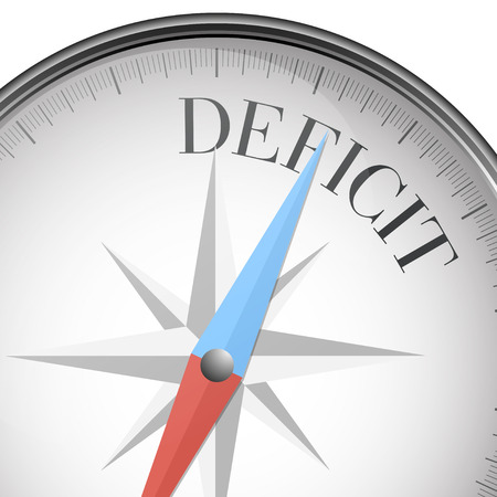 deficit: detailed illustration of a compass with deficit text,  vector