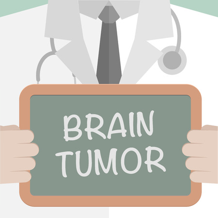 minimalistic illustration of a doctor holding a blackboard with Brain Tumor text, eps10 vector