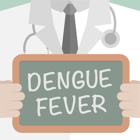 dengue fever: minimalistic illustration of a doctor holding a blackboard with Dengue Fever text, eps10 vector