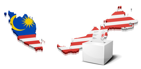 3d flag: detailed illustration of a ballotbox in front of a map of Malaysia, eps10 vector