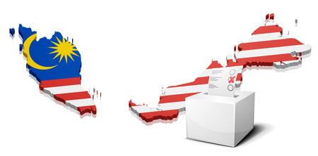 gedetailleerde illustratie van een ballotbox in de voorkant van een kaart van Maleisië, eps10 vector