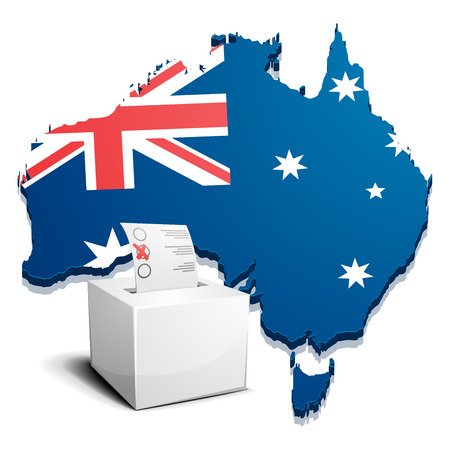 state election: detailed illustration of a ballotbox in front of a map of Australia, eps10 vector Illustration