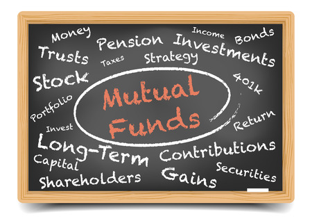 detailed illustration of a Mutual Funds wordcloud on a blackboard, eps10 vector, gradient mesh included Vector