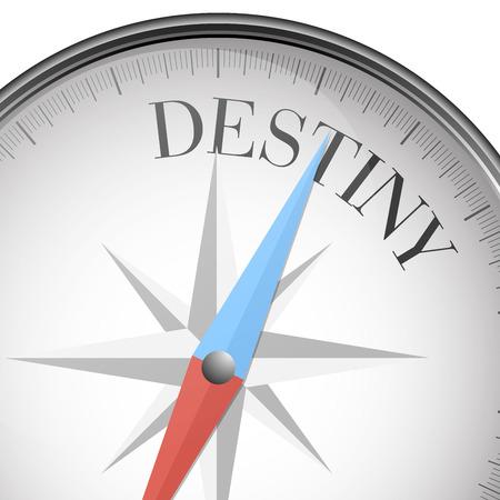detailed illustration of a compass with destiny text, eps10 vector Ilustração