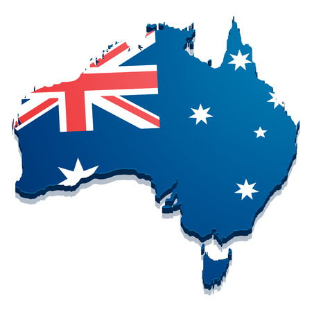 detailed illustration of a map of Australia with flag,  vector