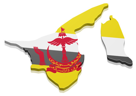 map of brunei: detailed illustration of a map of Brunei with flag,  vector