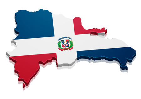 detailed illustration of a map of Dominican Republic with flag, eps10 vector Ilustração