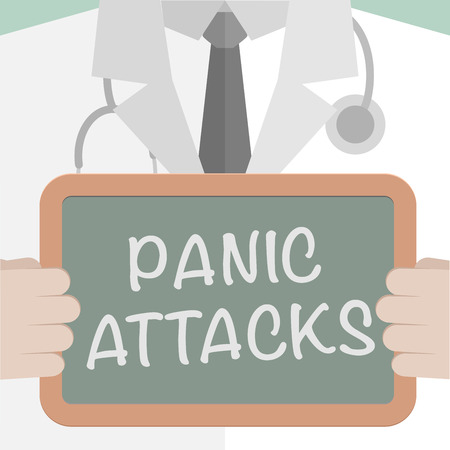 attacks: minimalistic illustration of a doctor holding a blackboard with Panic Attacks text, eps10 vector