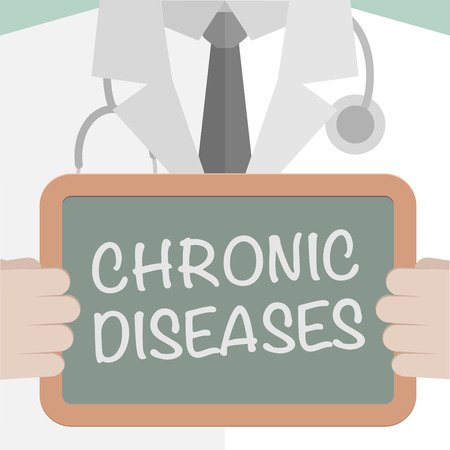 medicare: minimalistic illustration of a doctor holding a blackboard with Chronic Diseases text, eps10 vector Illustration