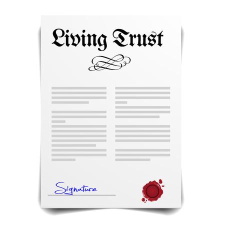 detailed illustration of a Living Trust Letter, eps10 vector Vettoriali