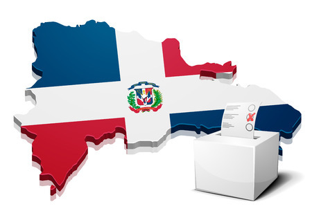 dominican republic: detailed illustration of a ballotbox in front of a map of Dominican Republic, eps10 vector