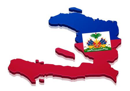 haiti: detailed illustration of a map of Haiti with flag, eps10 vector