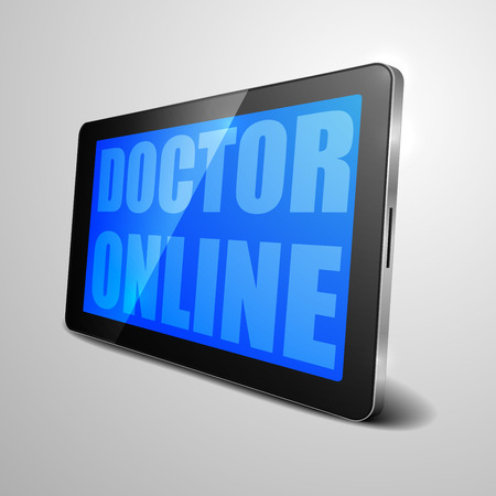 doctor tablet: detailed illustration of a tablet computer device with doctor online text, eps10 vector