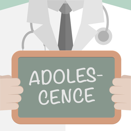 puberty: minimalistic illustration of a doctor holding a blackboard with Adolescence text, eps10 vector