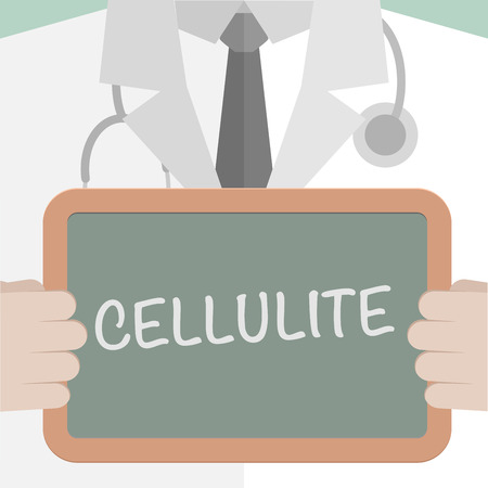 minimalistic illustration of a doctor holding a blackboard with Cellulite text, eps10 vector