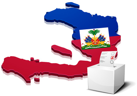state boundary: detailed illustration of a ballotbox in front of a map of Haiti, eps10 vector Illustration
