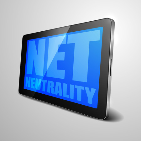 neutrality: detailed illustration of a tablet computer device with Net Neutrality text, eps10 vector