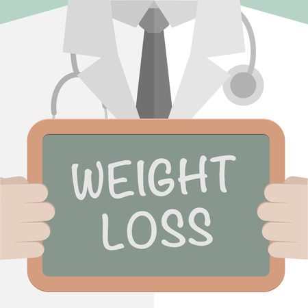 weight: minimalistic illustration of a doctor holding a blackboard with Weight Loss text, eps10 vector