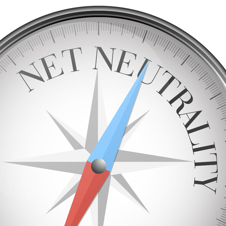 detailed illustration of a compass with net neutrality text, eps10 vector