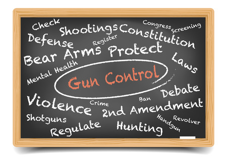 gun control: detailed illustration of a Gun Control wordcloud on a blackboard, eps10 vector, gradient mesh included Illustration