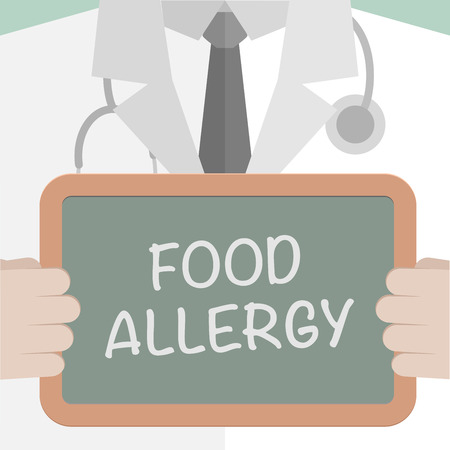 hypersensitivity: minimalistic illustration of a doctor holding a blackboard with Food Allergy text, eps10 vector