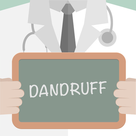 minimalistic illustration of a doctor holding a blackboard with Dandruff text, eps10 vector
