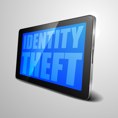data theft: detailed illustration of a tablet computer device with Identity Theft text, eps10 vector Illustration