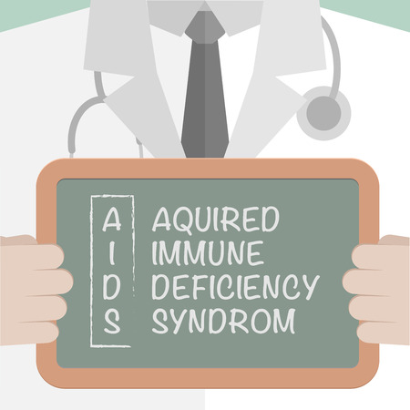 aids virus: minimalistic illustration of a doctor holding a blackboard with AIDS term explanation, eps10 vector Illustration