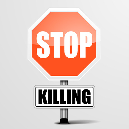 killings: detailed illustration of a red stop Killing sign, eps10 vector Illustration