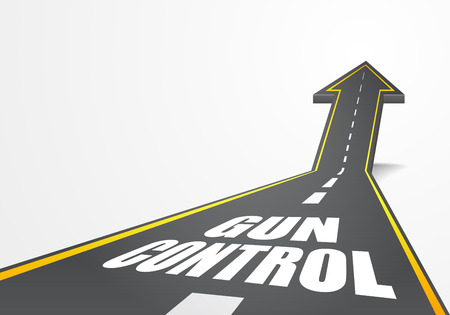 gun control: detailed illustration of a highway road going up as an arrow with Gun Control text, eps10 vector