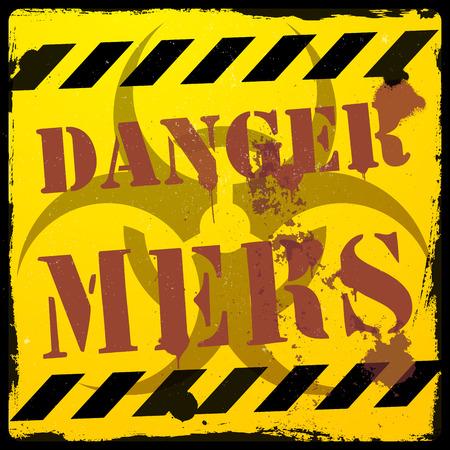 deadly danger sign: detailed illustration of a grunge MERS danger background, eps10 vector illustration