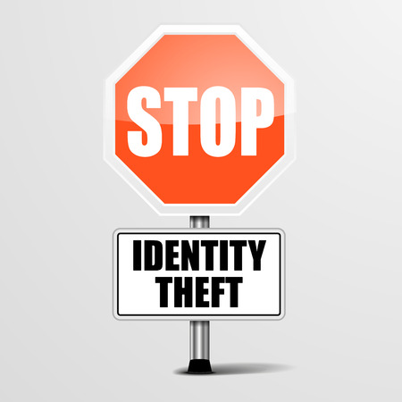 data theft: detailed illustration of a red stop Identity Theft sign, eps10 vector