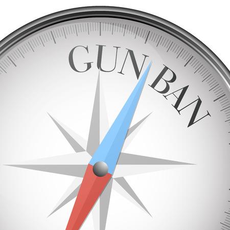 pistolas: ilustración detallada de una brújula con el texto prohibición de armas, vector eps10