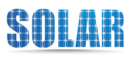 solarpanel: detailed illustration of a solar text with photovoltaik cell pattern, eps10 vector