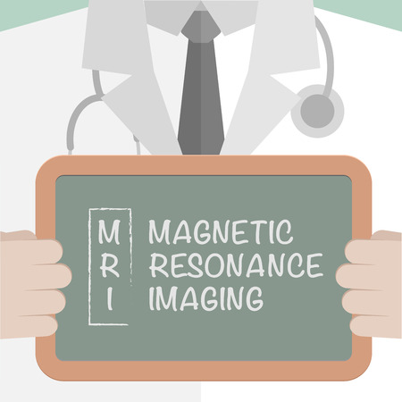 mri: minimalistic illustration of a doctor holding a blackboard with MRI term explanation, eps10 vector