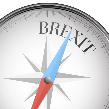 direction magnet: detailed illustration of a compass with Brexit text, eps10 vector
