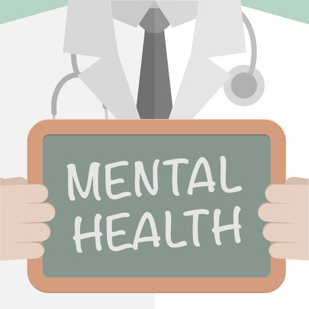 clinical psychology: minimalistic illustration of a doctor holding a blackboard with Mental Health text, eps10 vector Illustration