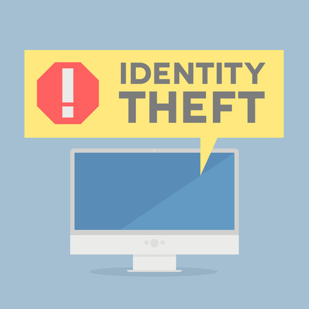 identities: minimalistic illustration of a monitor with a Identity Theft alert speech bubble, eps10 vector Illustration