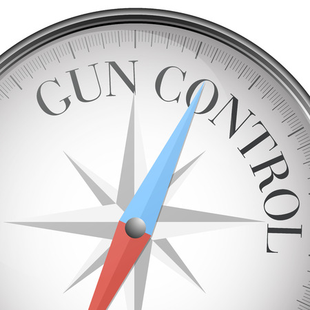 detailed illustration of a compass with Gun Control text, eps10 vector