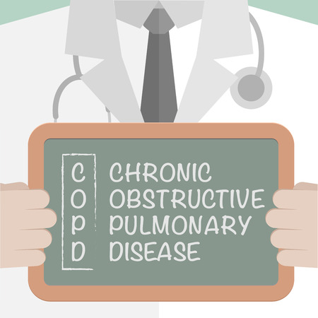 doctor tablet: minimalistic illustration of a doctor holding a blackboard with COPD tern explanation, eps10 vector